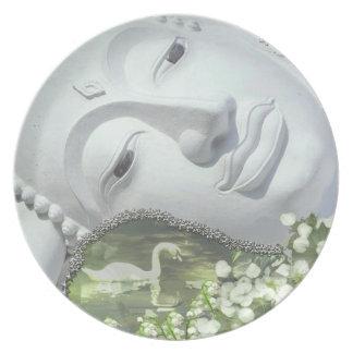 In the Garden - Quan Yin & Flowers Dinner Plate