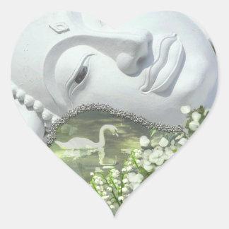 In the Garden - Quan Yin & Flowers Heart Sticker