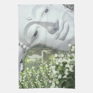 In the Garden - Quan Yin & Flowers Kitchen Towel