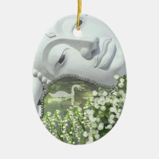 In the Garden - Quan Yin & Flowers Christmas Ornaments