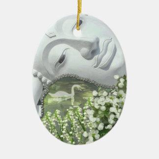 In the Garden - Quan Yin & Flowers Christmas Ornaments