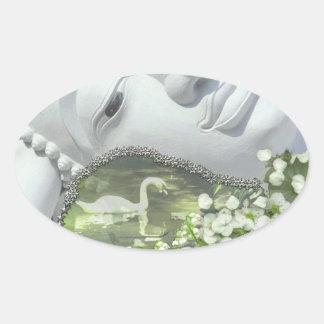 In the Garden - Quan Yin & Flowers Oval Sticker