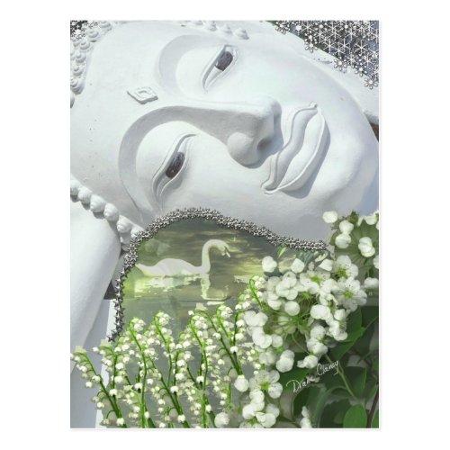In the Garden - Quan Yin & Flowers Postcard