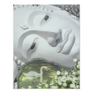 In the Garden - Quan Yin & Flowers Poster