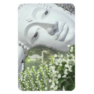In the Garden - Quan Yin & Flowers Rectangle Magnets