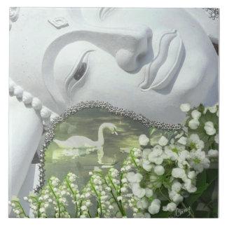 In the Garden - Quan Yin & Flowers Tile