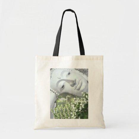 In the Garden - Quan Yin & Flowers Tote Bag