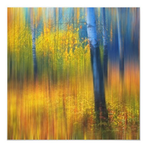 In the Golden Woods. Impressionism 5.25x5.25 Square Paper Invitation Card
