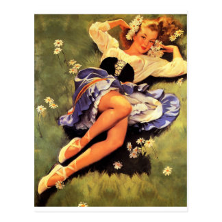 In the Grass Pin Up Postcard