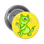 In The Green Cartoon Cat Buttons