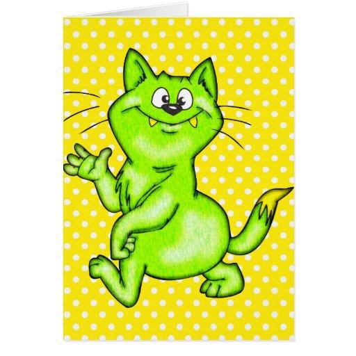 In The Green Cartoon Cat Card