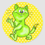 In The Green Cartoon Cat Round Stickers