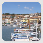In the harbour in Cassis village. Fishing and Square Sticker