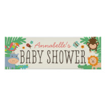 In the Jungle Baby Shower Banner 12x36 Poster