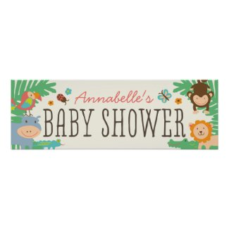 In the Jungle Baby Shower Banner 12x36 Print