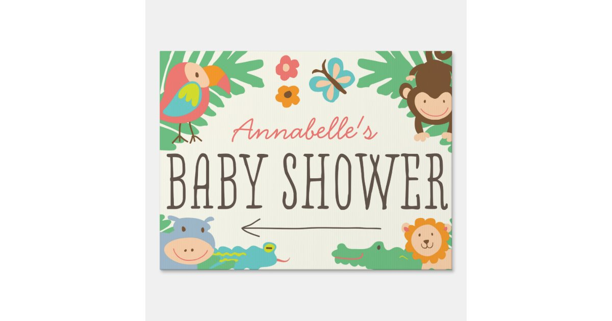 in the jungle baby shower yard sign zazzle