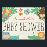 """In the Jungle Baby Shower Yard Sign<br><div class=""""desc"""">Cute little safari animal sign by Shelby Allison.</div>"""