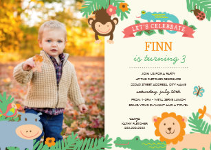 Jungle birthday invitations announcements zazzle in the jungle birthday party invite filmwisefo Image collections