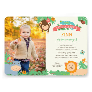 In the Jungle Birthday Party Invite Announcements