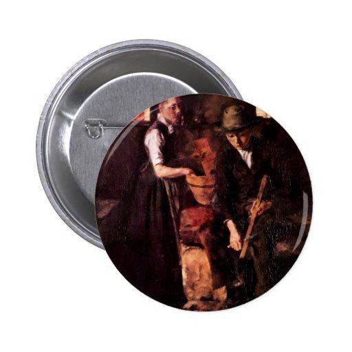 In The Kitchen (Kitchen In Kutterling) By Leibl 2 Inch Round Button