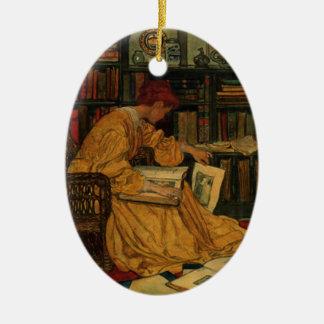 In the Library Ceramic Ornament