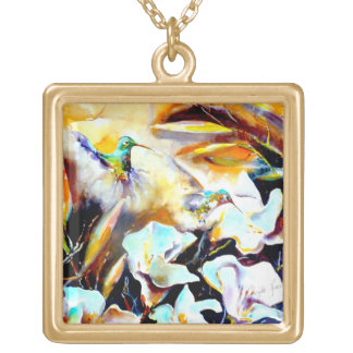 """In the Lilies"" Hummingbird Print Gold Plated Necklace"