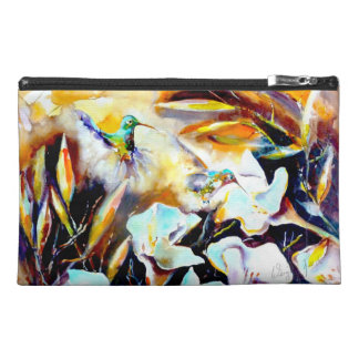 """""""In the Lilies"""" Hummingbird Print Travel Accessory Bag"""