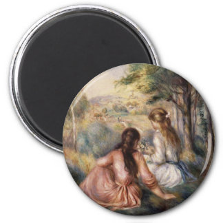 In the Meadow by Pierre-Auguste Renoir 2 Inch Round Magnet