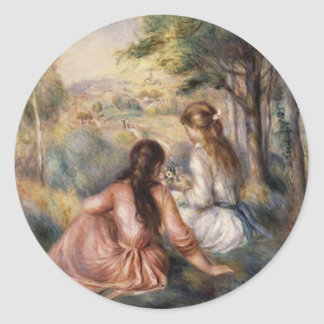 In the Meadow by Pierre-Auguste Renoir Classic Round Sticker