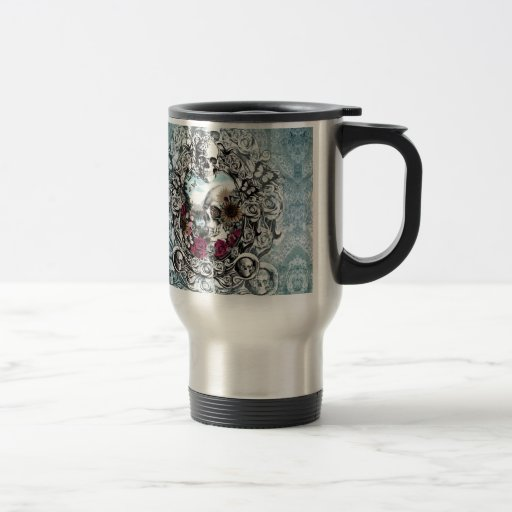 In the mirror landscape skull. 15 oz stainless steel travel mug