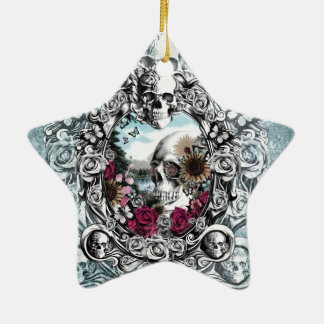 In the mirror landscape skull. Double-Sided star ceramic christmas ornament