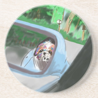In the mirror of car drink coaster