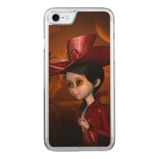 In the night, beautiful girl carved iPhone 7 case