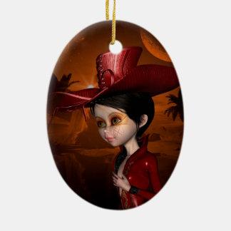 In the night, beautiful girl ceramic ornament