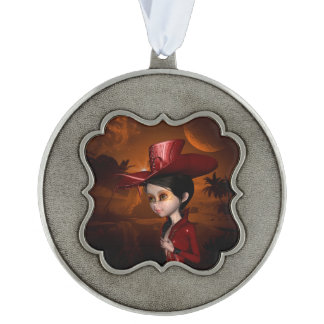 In the night, beautiful girl pewter ornament