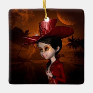 In the night, cute girl ceramic ornament