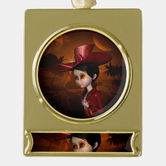 In the night, cute  girl gold plated banner ornament