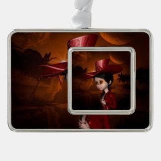 In the night, cute  girl ornament