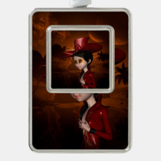 In the night, cute  girl silver plated framed ornament