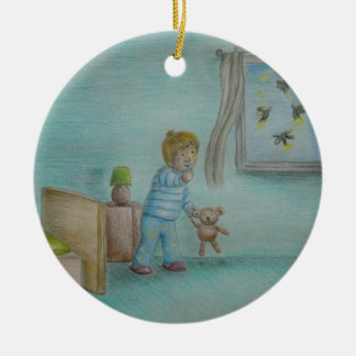 in the night of fireflies Double-Sided ceramic round christmas ornament