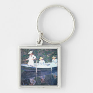In the Norvegienne Boat at Giverny Silver-Colored Square Keychain
