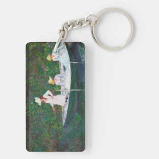 In the Norwegian Boat at Giverny Claude Monet Keychain