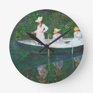 In the Norwegian Boat at Giverny Claude Monet Round Clock