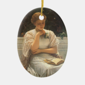 In the Orangery by Charles Edward Perugini Double-Sided Oval Ceramic Christmas Ornament