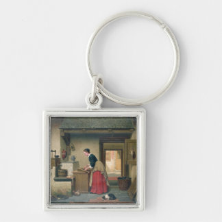 In the Pantry, 1868 (oil on panel) Keychain