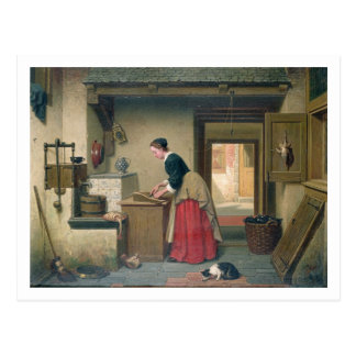 In the Pantry, 1868 (oil on panel) Postcard