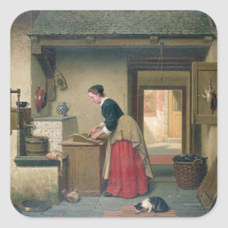 In the Pantry, 1868 (oil on panel) Square Sticker