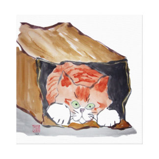 In the Paper Bag - Kitten is hiding... Stretched Canvas Prints