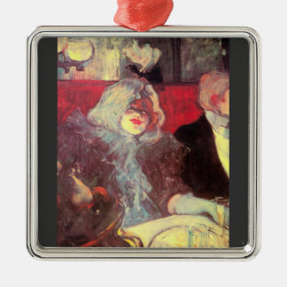In the particular cabinet by Toulouse-Lautrec Square Metal Christmas Ornament