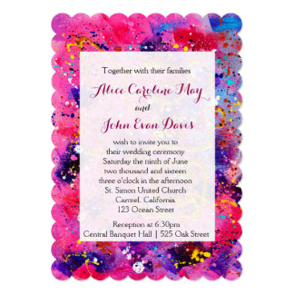 In the Pink Abstract Art Wedding Invitation